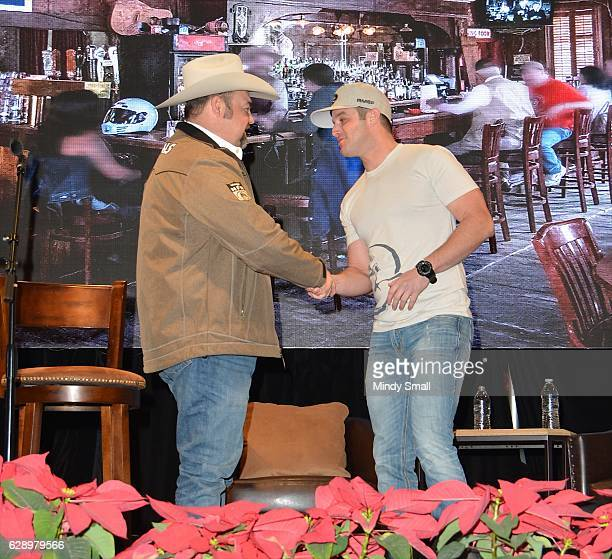 Daryle Singletary interviews recording artist Easton Corbin during the Keepin' it Country with Daryle Singletary show during the National Finals...