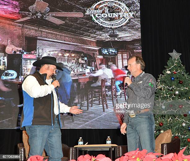 Daryle Singletary introduces guest Flint Rassmussen during the Keepin' it Country with Daryle Singletary show during the National Finals Rodeo's...