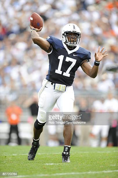 Daryll Clark of the Penn State Nittany Lions passes against the Oregon State Beavers at Beaver Stadium on September 6 2008 in State College...