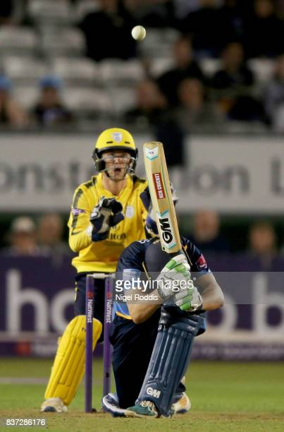 Daryn Smit of Derbyshire Falcons plays a shot over his head during the NatWest T20 Blast at The 3aaa County Ground on August 22 2017 in Derby England