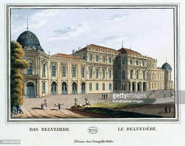 Das Belvedere [Oberes Belvedere] 1825 Colored copper engraving Journal No 13 from >Wiens vorzüglichste Gebäude und Monumente Les principaux batiments...