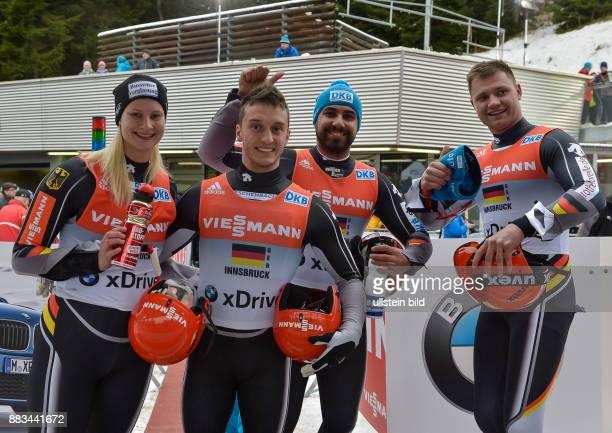 Das deutsche Team mit Dajana Eitberger Sascha Benecken Andi Langenhan und Toni Eggert gewinnen waehrend dem FIL Rodel Weltcup Team Staffel am 29...