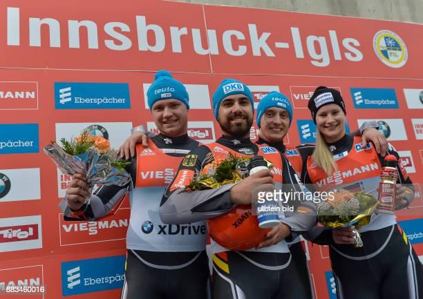 Das deutsche Team mit Toni Eggert Andi Langenhan Sascha Benecken und Dajana Eitberger gewinnen waehrend dem FIL Rodel Weltcup Team Staffel am 29...