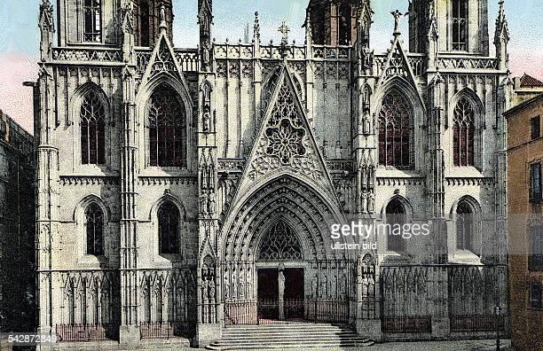 das Eingangsportal der Kathedrale an der Placa de la Seu Colorierte Postkarte ohne Jahr