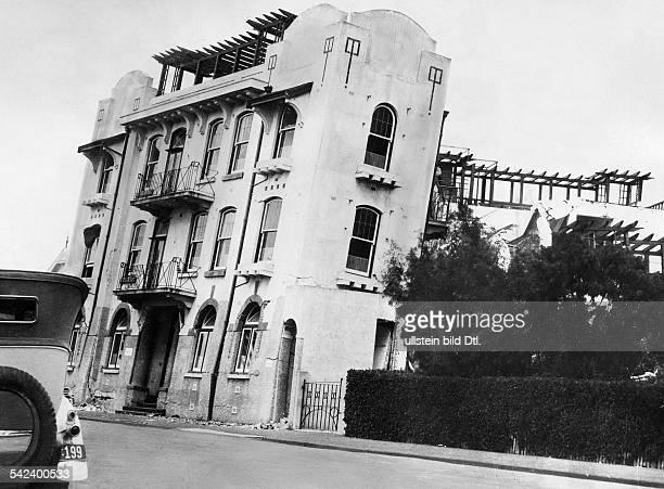 Das Erdbeben auf der Nordinsel im Jahre1931Das stark geneigte Krankenhaus vonNapier
