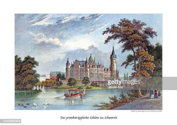 Das großherzogliche Schloss zu Schwerin Stahlstich von Johann Poppel nach einer Zeichnung von JGottheil 1851