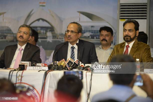 SCL Das joint secretary at the Indian Home Ministry Foreign Ministry joint secretary Deepak Mittal and Punjab government official Hussan Lal attend a...