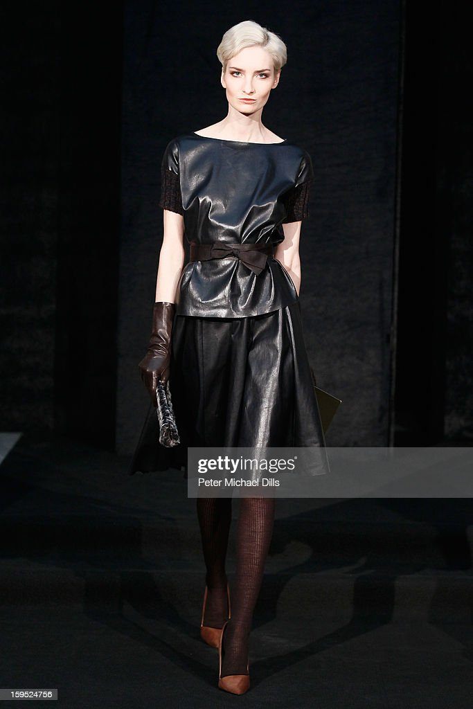'Das perfekte Model' candidate Anika Scheibe poses at Schacky And Jones Show Autumn/Winter 2013/14 fashion show during Mercedes-Benz Fashion Week Berlin at Brandenburg Gate on January 15, 2013 in Berlin, Germany.