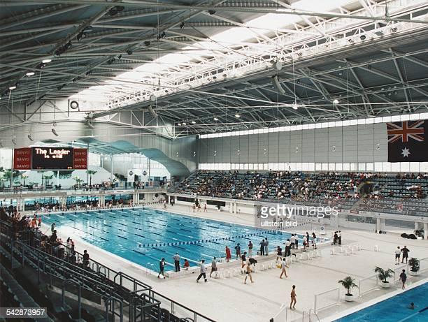 Das Schwimmstadion International Aquatic Centre der Olympischen Sommerspiele 2000 in Sydney Das moderne Gebäude wurde für die Sommerspiele in...