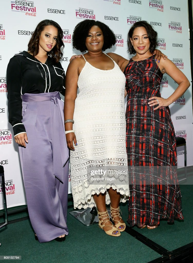Dascha Polanco, Adrienne C. Moore, and Selenis Leyva attend the 2017 Essence Festival - Day 1 on June 30, 2017 in New Orleans, Louisiana.