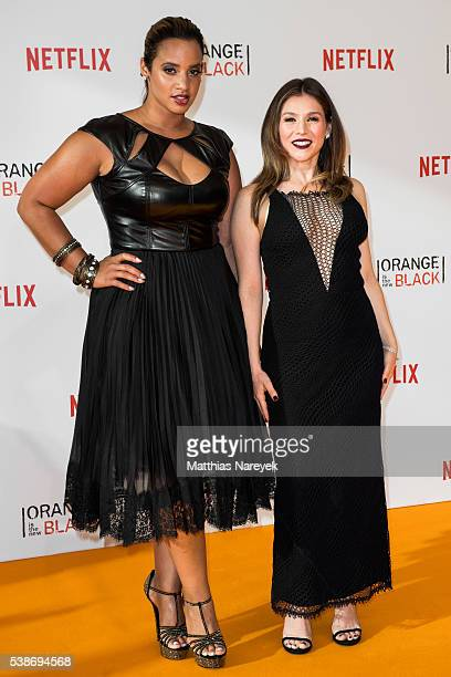 Dascha Polanco and Yael Stone during the 'Orange is the New Black' Europe Premiere at Kino in der Kulturbrauerei on June 7 2016 in Berlin Germany