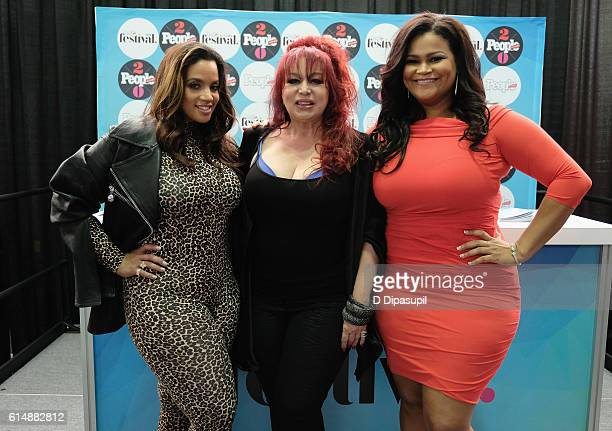 Dascha Polanco, Iris Chacon and Christina Mendez pose backstage during the 5th Annual Festival PEOPLE En Espanol, Day 1 at the Jacob Javitz Center on...