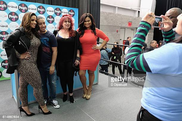 Dascha Polanco, Iris Chacon and Christina Mendez pose with fans backstage during the 5th Annual Festival PEOPLE En Espanol, Day 1 at the Jacob Javitz...
