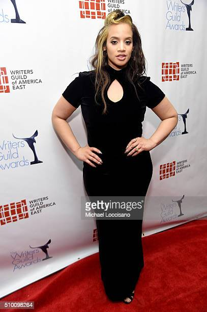 Dascha Polanco poses backstage during the 68th Annual Writers Guild Awards at Edison Ballroom on February 13 2016 in New York City