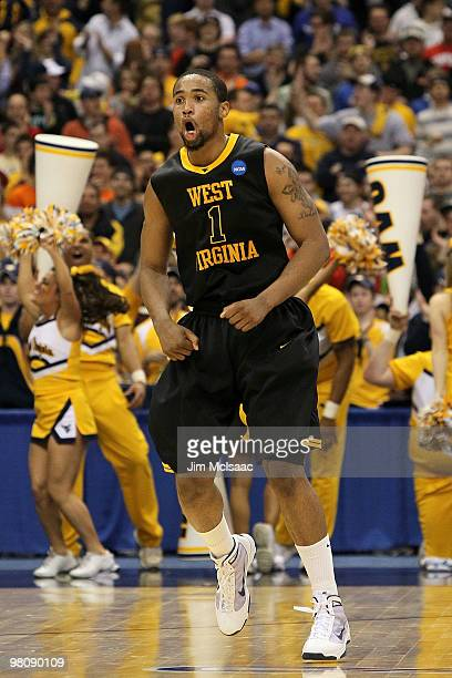 Da'Sean Butler of the West Virginia Mountaineers reacts in the first half against the Kentucky Wildcats during the east regional final of the 2010...