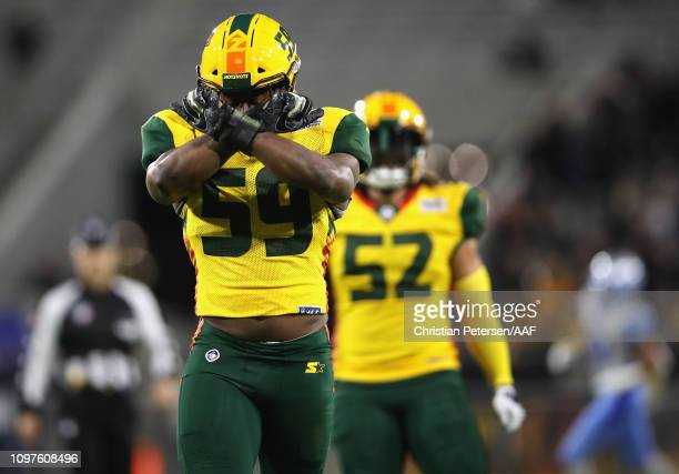 Da'Sean Downey of the Arizona Hotshots reacts to a sack during the second quarter of the Alliance of American Football game against the Salt Lake...