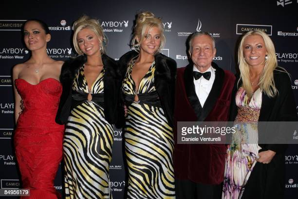 Dasha Astafieva Kristina Shannon Karissa Shannon Hugh Hefner and Crystal Harris attends the Playboy party at the Morgana restaurant on the fourth day...