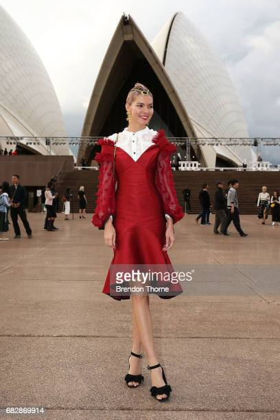 Dasha Gold wearing Nicola Finetti dress Gucci bag and Valere jewellery during MercedesBenz Fashion Week Resort 18 Collections at Carriageworks on May...