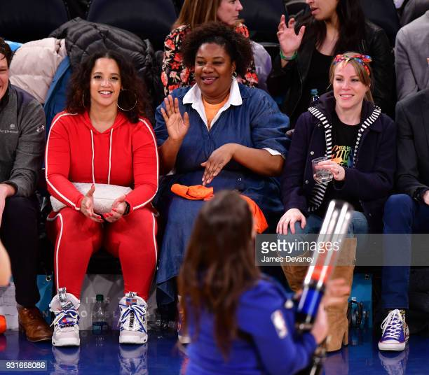 Dasha Polanco Adrienne C Moore and Emma Myles attend the New York Knicks Vs Dallas Mavericks game at Madison Square Garden on March 13 2018 in New...