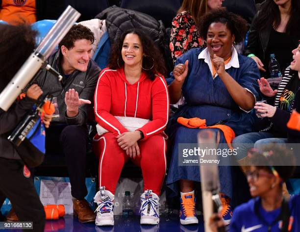 Dasha Polanco and Adrienne C Moore attend the New York Knicks Vs Dallas Mavericks game at Madison Square Garden on March 13 2018 in New York City