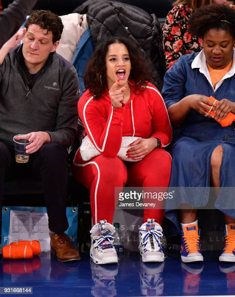 Dasha Polanco attends the New York Knicks Vs Dallas Mavericks game at Madison Square Garden on March 13 2018 in New York City