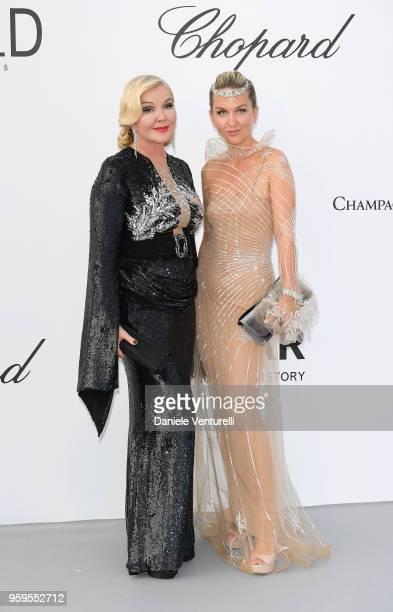 Dasha Yanina and Monika Bacardi arrive at the amfAR Gala Cannes 2018 at Hotel du CapEdenRoc on May 17 2018 in Cap d'Antibes France