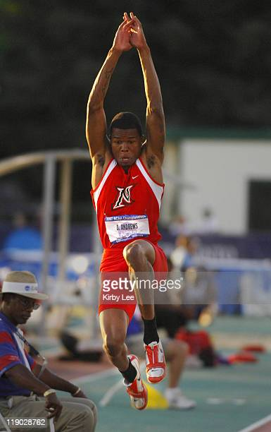 Dashalle Andrews of Cal State Northridge won the long jump at 25- 21/2 in the NCAA Track & Field Championships at Sacramento State's Hornet Stadium...