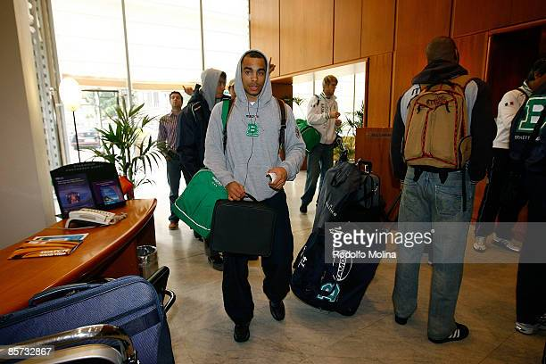Dashaun Wood #5 of Benetton Basket Arrival at the Palasport on March 31 2009 in Turin Italy