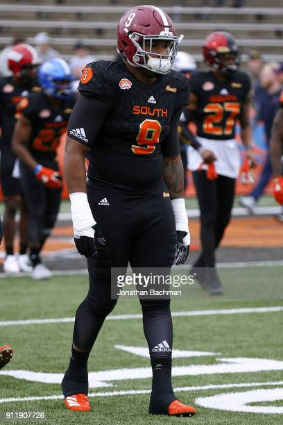 Da'Shawn Hand of the South team reacts during the Reese's Senior Bowl at LaddPeebles Stadium on January 27 2018 in Mobile Alabama
