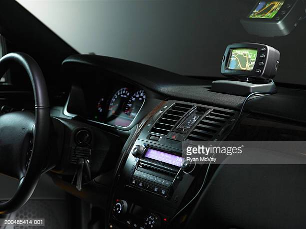 Dashboard and global positioning system in car