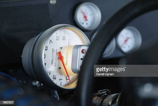 Dashboard and rev counter during practice for the NASCAR Winston Cup Samsung/Radio Shack 500 on March 29 2003 at the Texas Motor Speedway in Fort...