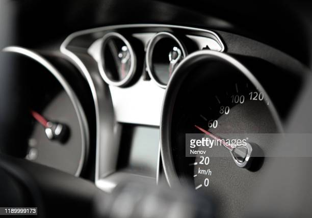 dashboard instruments displaying various car and engine conditions - car interior stock pictures, royalty-free photos & images