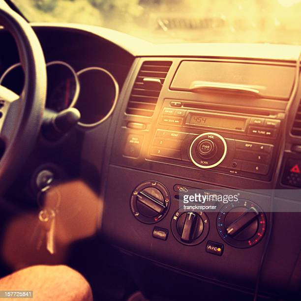 Dashboard of a Car at sunset