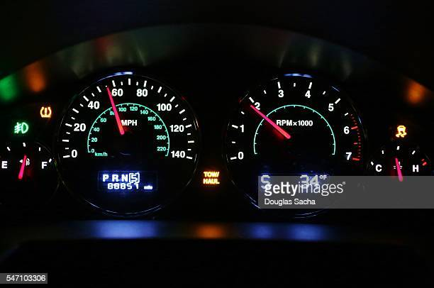Dashboard view of colorful gauges on a automobile