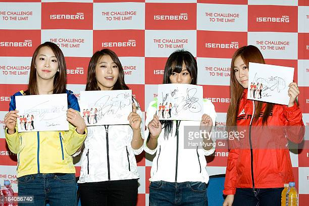 """Dasom, Bora, Hyorin and Soyou of South Korean girl group Sistar attend an autograph session for """"ISENBERG"""" at Lotte Department Store on March 19,..."""