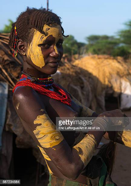 Dassanech tribe teenage girl during dimi ceremony to celebrate circumcision of teenagers omo valley omorate Ethiopia on March 21 2016 in Omorate...
