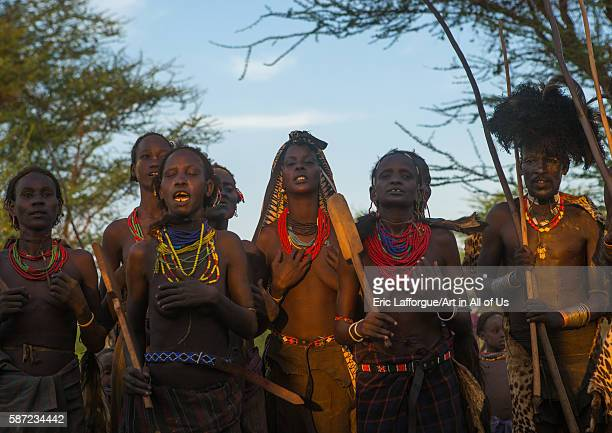 Dassanech tribe women and man during the dimi ceremony to celebrate the circumcision of the teenagers omo valley omorate Ethiopia on March 20 2016 in...