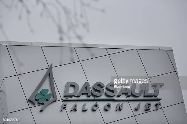 Dassault Aviation SA signage is displayed outside the company's Falcon Jet parts distribution center at Teterboro Airport in Teterboro New Jersey US...