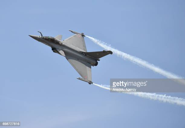 Dassault Rafale fighter jet flies during the 52nd International Paris Air Show at Le Bourget Airport near Paris France on June 20 2017