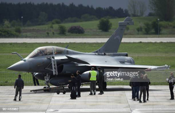 Dassault Rafale jet fighter plane stands at the ILA Berlin Air Show on April 26 2018 in Schoenefeld Germany ILA Berlin is Europe's third largest air...
