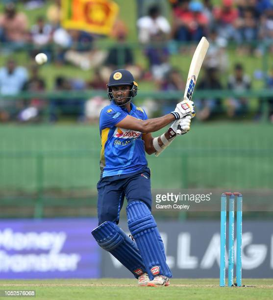 Dasun Shanaka of Sri Lanka bats during the 4th One Day International match between Sri Lanka and England at Pallekele Cricket Stadium on October 20,...