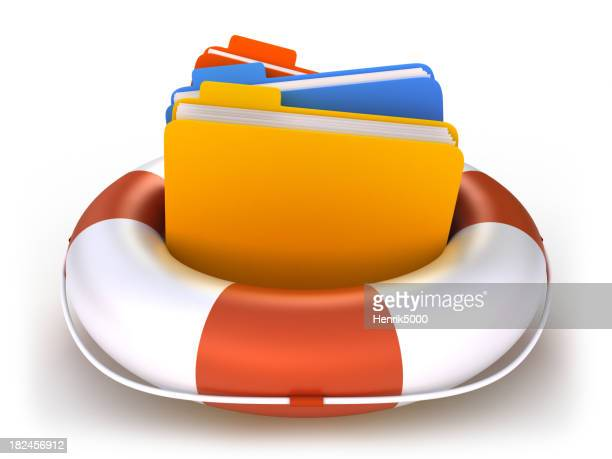 Data folders in life buoy  - isolated with clipping path