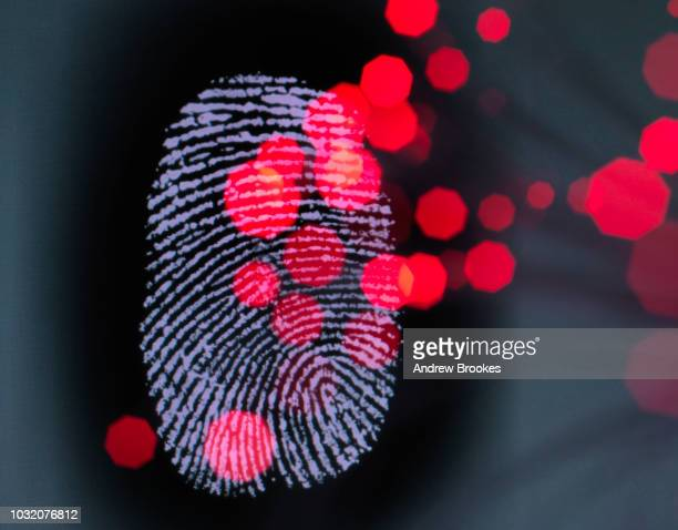 data infecting a finger print identity on a screen to illustrate hacking and cyber crime - crimine foto e immagini stock