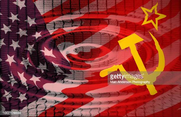 101010 data lines ripple with us soviet flag version 2 - computer bug stock photos and pictures