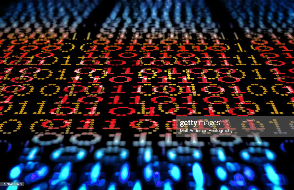 101010 Data Lines to Infinity in Red : Stock Photo
