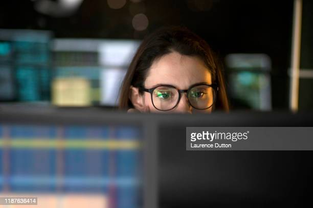 data office woman glasses - finance stock pictures, royalty-free photos & images