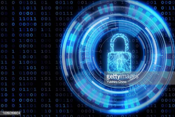 data protection concept with circuit in padlock shape - hud graphical user interface stock photos and pictures