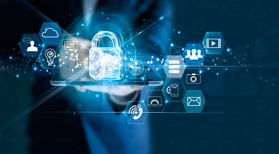 Data protection privacy concept. GDPR. EU. Cyber security network. Business man protecting data personal information on tablet. Padlock icon and internet technology networking connection on digital dark blue background. 962094400