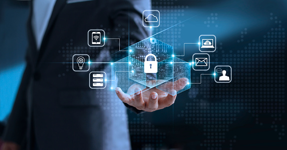 Data protection privacy concept. GDPR. EU. Cyber security network. Business man protecting his data personal information. Padlock icon and internet technology networking connection on virtual interface blue background. 962094446