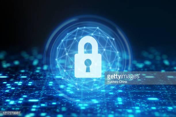 data protection with padlock - デイフェンス ストックフォトと画像